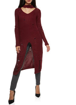 Distressed Maxi Sweater with Front Slit - BURGUNDY - 3403062707055