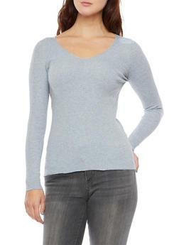 Ribbed V Neck Sweater - 3403072290072