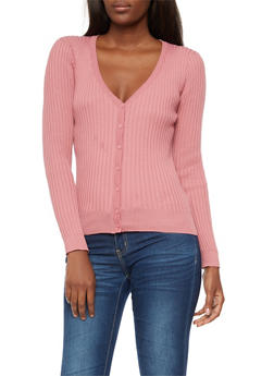 Ribbed Knit Button Front Cardigan - 3403072298989