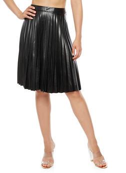 Faux Leather Pleated Midi Skirt - 3406056578282