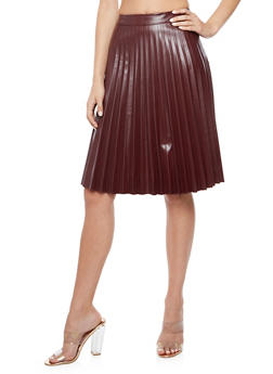 Faux Leather Pleated Midi Skirt - 3406056578282