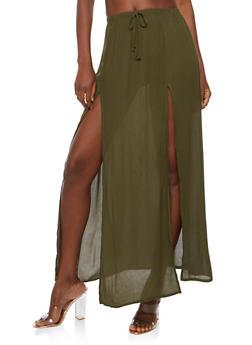 Gauze Knit Maxi Skirt - OLIVE - 3406061350207