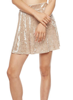 Crushed Velvet Skater Skirt - TAUPE - 3406061354191