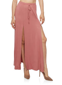 Soft Knit Maxi Skirt with High Slits - DARK MAUVE - 3406061354212