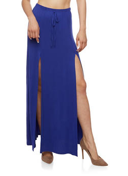 Soft Knit Maxi Skirt with High Slits - 3406061354212