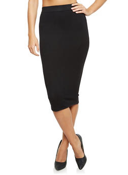 Solid Midi Pencil Skirt - 3406062703036