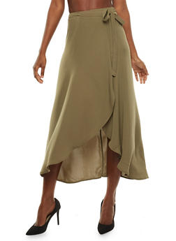 Wrap Front Maxi Skirt - OLIVE - 3406062709880