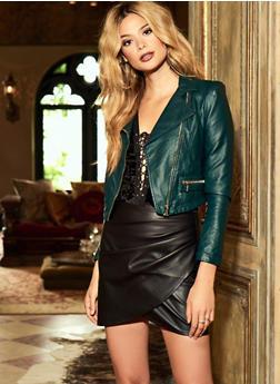 Pleated Faux Leather Mini Skirt - 3406068196004