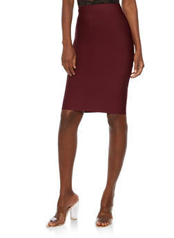 Solid Bandage Pencil Skirt - ZIFANDEL - 3406068197072