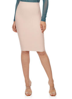 Solid Bandage Pencil Skirt - ROSE SMOKE - 3406068197072