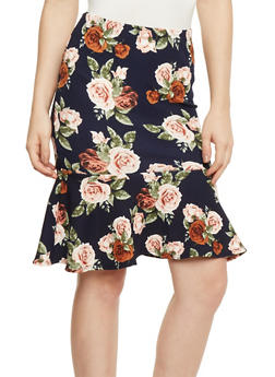 Floral Print Skirt with Flounce Hem - 3406068512485
