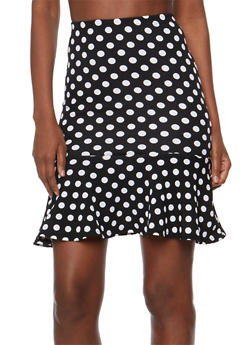 Polka Dot Pencil Skirt with Flounce Hem - 3406068512487
