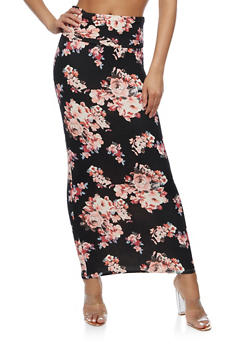 Floral Print Maxi Skirt - 3406068512514