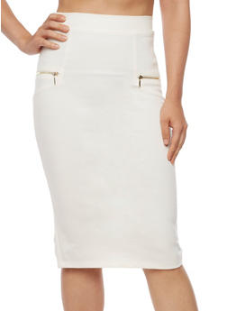 Solid Pencil Skirt with Zippers - IVORY - 3406069390019