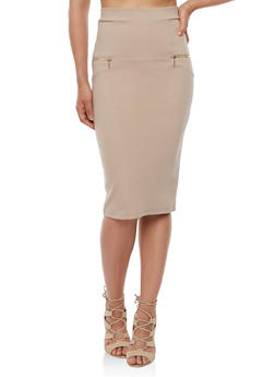 Solid Pencil Skirt with Zippers - 3406069390019
