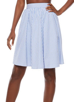Striped A Line Midi Skirt - 3406069390046