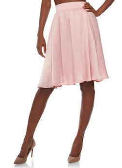Satin Pleated A line Skirt - 3406069390047
