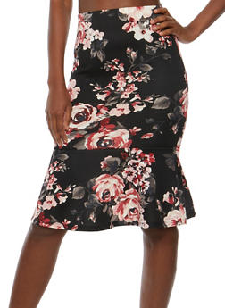 Floral Pencil Skirt with Flounce Hem - 3406069390072