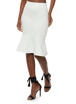 Solid Pencil Skirt with Flounce Hem - OFF WHT - 3406069390100