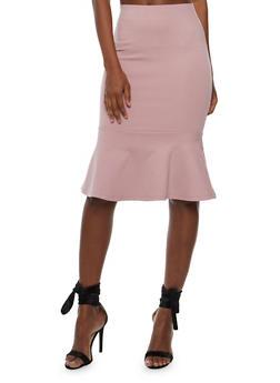 Solid Pencil Skirt with Flounce Hem - ASH MAUVE - 3406069390100