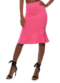 Solid Pencil Skirt with Flounce Hem - 3406069390100