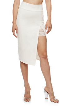Pencil Skirt with Slit and Lace Insert - IVORY - 3406069390443