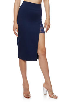 Pencil Skirt with Slit and Lace Insert - 3406069390443
