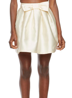 Coated A-Line Skirt with Bow Embellishment - 3406069391007