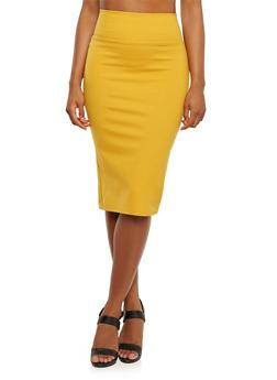 Stretch Midi Skirt in Bodycon Fit - MUSTARD - 3406069391010