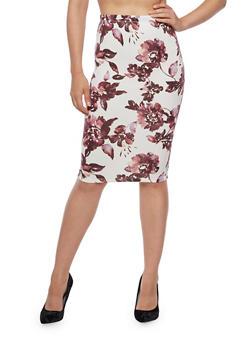 Floral Pencil Skirt - 3406069391042