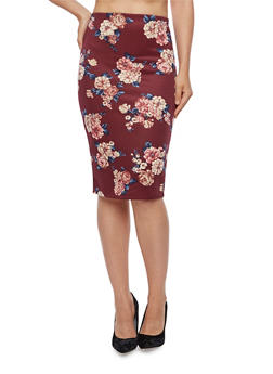 Floral Pencil Skirt - 3406069391042