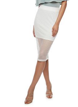 Mesh Pencil Skirt - WHITE - 3406069391065