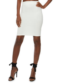 Solid Ponte Knit Pencil Skirt - IVORY - 3406069391070