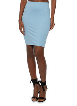 Solid Ponte Knit Pencil Skirt - 3406069391070