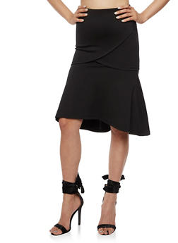 Flare Midi Skirt with Elastic Waist - 3406069391071