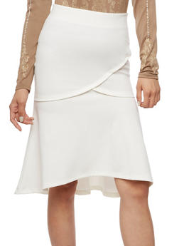 Flare Midi Skirt with Elastic Waist - OFF WHITE - 3406069391071