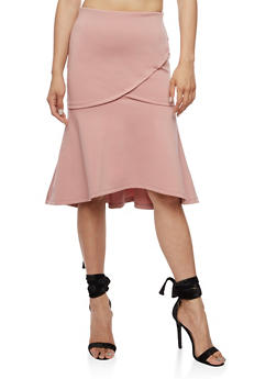 Flare Midi Skirt with Elastic Waist - MAUVE - 3406069391071