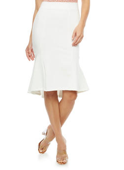 Flared Solid Midi Skirt - 3406069391072