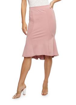 Flared Solid Midi Skirt - 3406069391072