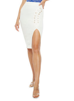 Lace Up Side Solid Pencil Skirt - OFF WHITE - 3406069391080