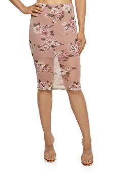 Floral Mesh Midi Pencil Skirt - 3406069391084