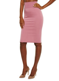 Solid Midi Pencil Skirt - 3406069391101