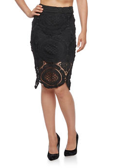 Crochet Overlay Pencil Skirt - 3406069392008