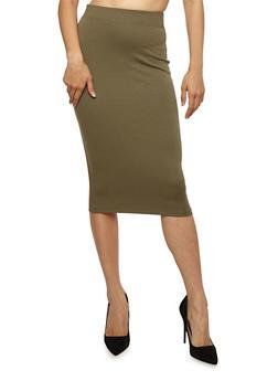 Basic Midi Pencil Skirt - OLIVE - 3406069392009