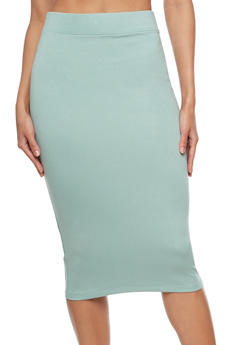 Basic Midi Pencil Skirt - 3406069392009