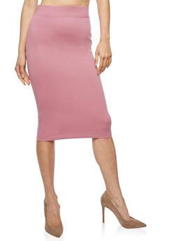 Basic Midi Pencil Skirt - 3406069392009