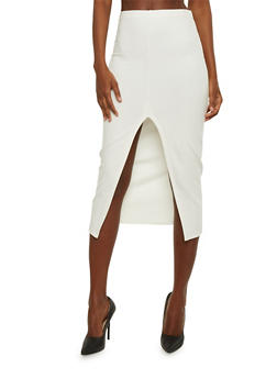 Solid Split Front Midi Skirt - 3406069393006