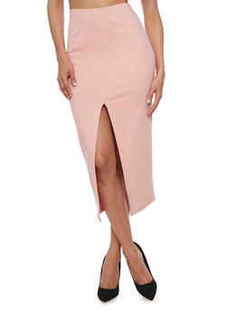 Solid Split Front Midi Skirt - BLUSH - 3406069393006