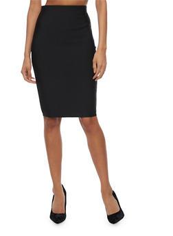 Solid Midi Pencil Skirt - 3406069394006