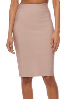 Solid Midi Pencil Skirt - MAUVE - 3406069394006